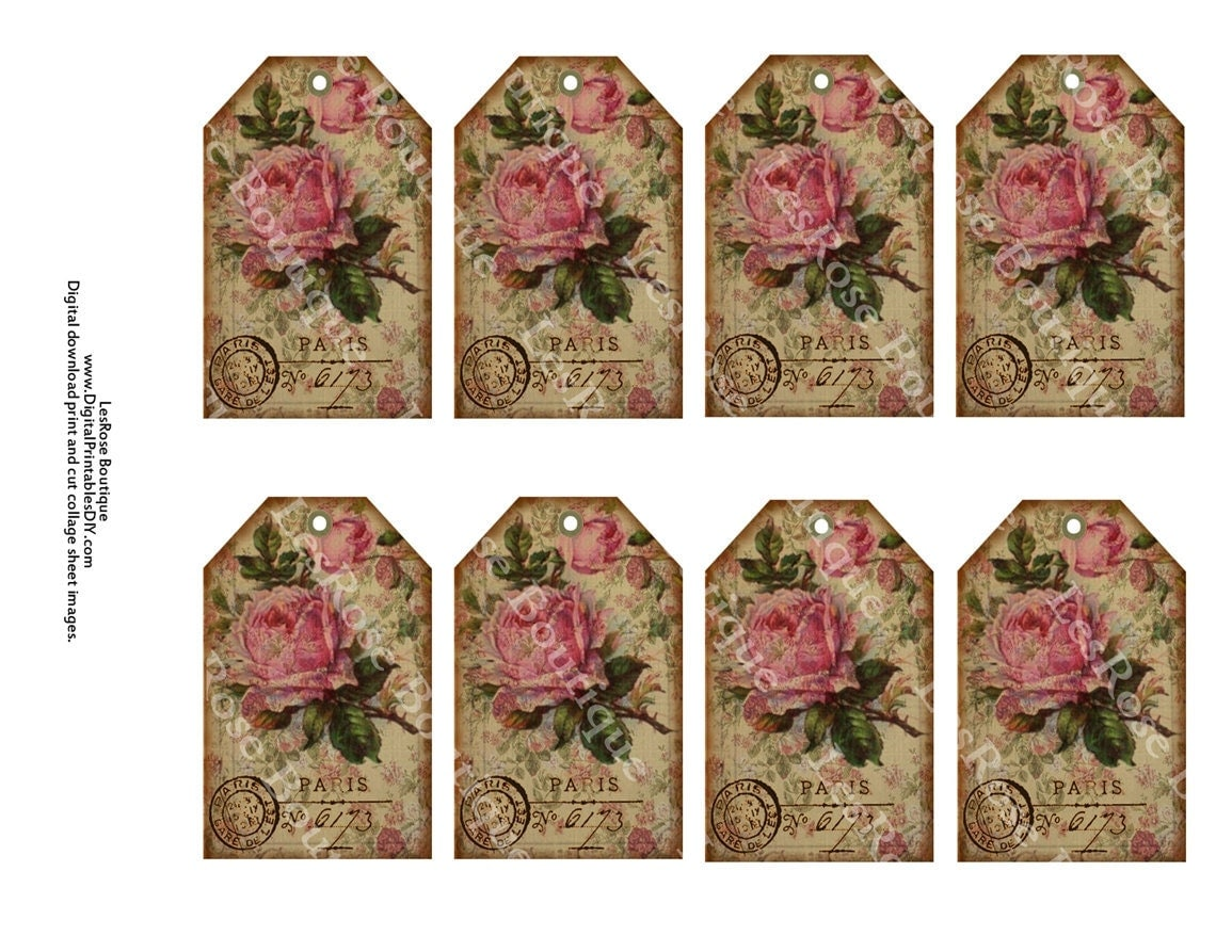 French Gift Tags Vintage Roses with Paris Postmark Old Paper