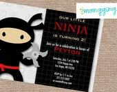 Ninja Birthday Party DIY Digital Printable Invitation (Ninja, Black, Red)