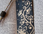 Hand painted Bookmark - Black with gold florals