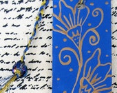 Bookmark hand painted- light blue and gold