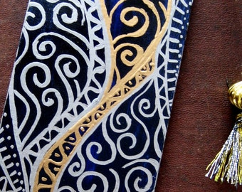 Bookmark Handpainted- Navy Blue, Silver and Gold