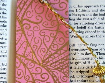 Hand painted Bookmark - pink and gold