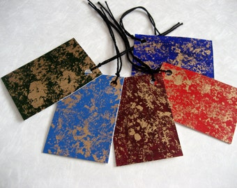 hand painted gift tags - set of 10 with gold leaf