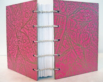 Coptic bound Journal - mini Pink and Gold