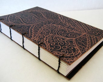 Hand painted Journal, Coptic bound  - black and bronze