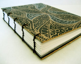 Gratitude Journal, Coptic bound - Green, Gold and Silver