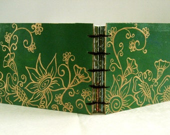 Coptic Bound Sketchbook- Garden Collection - light Green and Gold