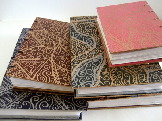 """Custom Painted 5"""" by 7"""" Coptic bound Journal"""