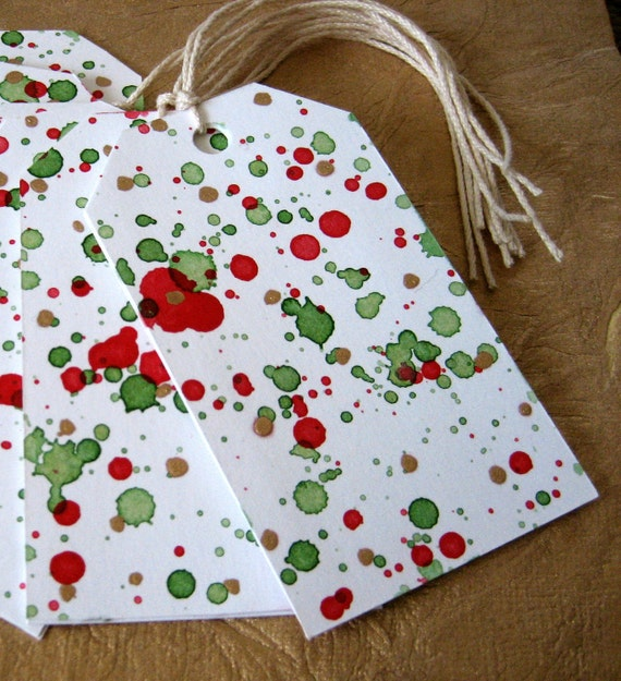 Gift Tags - Red, Green, Gold Splatter (6)