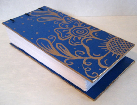 Notepad Hand painted - Blue with gold Flowers