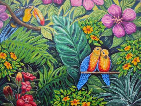 Original Painting Bird Flowers Oil on Canvas Contemporary Modern Art  Parrots Jungle Love Scene