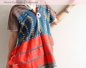 Thai Karen Hill tribe shirt Tribal Ethnic  Cotton Geometry Design Embroidery and decorate with Job's tears Handmade. BL010