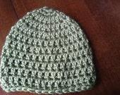 Newborn Baby Boy Olive Green Crochet Beanie Hat