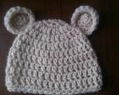 Newborn Beige / Ivory  Crochet Bear Beanie Hat.