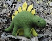 Dinosaur plush toy, green wool