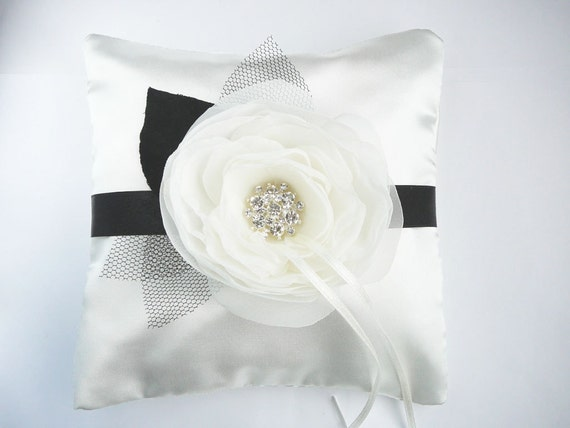 Black and White Ring Bearer Pillow  MADE TO ORDER