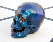 Handmade Human Sized Purple/Blue Color-Shifting Skull W/ Rhinestone Eyes (Open Mouth)