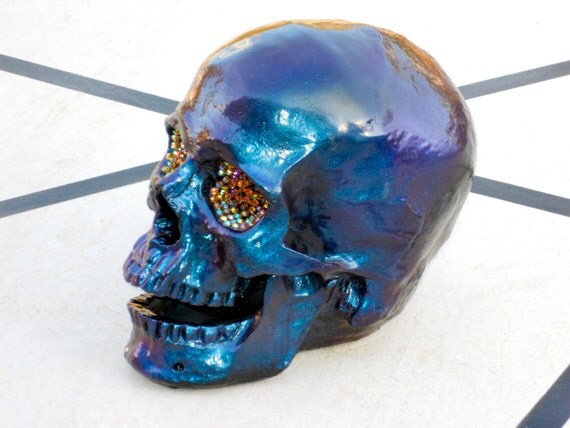 Handmade Human Sized Purple/Blue Color-Shifting Skull W/ Rhinestone Eyes (Open Mouth)