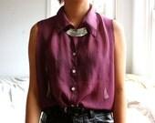 sleeveless sheer purple button up top