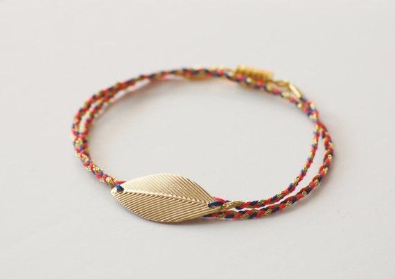 Gold Tone Leaf Braided Bracelet - Blue, Coral & Gold
