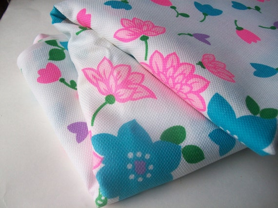 Hot Pink Poppin Flowers Vintage Fabric Material, Turquoise, Green, Purple, Total Retro 2.5 Yards from All Vintage Man