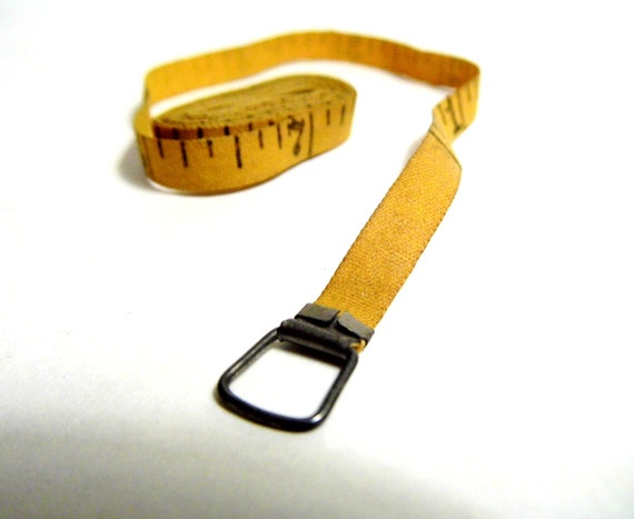 Vintage Yellow Cloth Tape Measure for Sewing, Crafts, Props, Shabby Cottage Chic