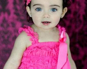 Petti Lace Romper, Bubblegum Pink Ruffled Lace Petti Romper Photography Prop Photo Shoot