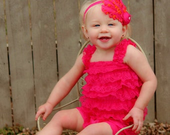 Lace Petti Romper, Fuschia Hot Pink Ruffled Lace Petti Romper Baby Infant Toddler Photography Prop Photo Shoot