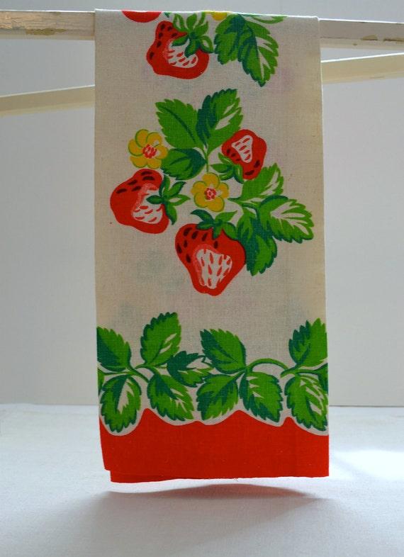 1940s vintage tea towel kitchen towel red by for Vintage sites like etsy