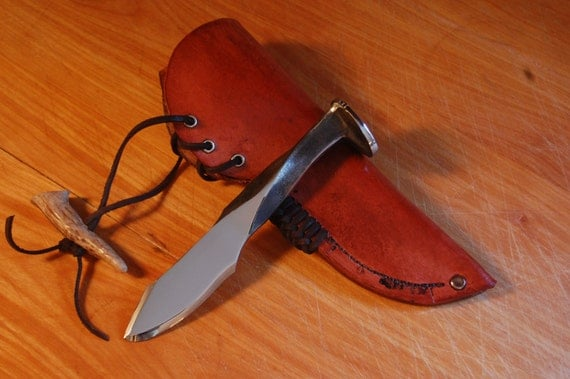 Hand Forged Railroad Spike Knife w/ Sheath High Quality
