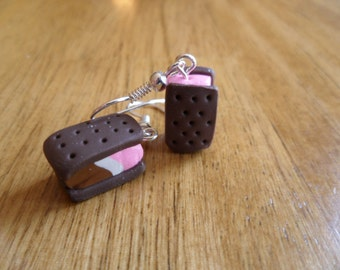 Neapolitan Ice cream Sandwich Polymer Clay Dangle Earrings