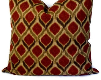 Swavelle/Mill Creek Giorgio Ikat Decorative Pillow, Pillow Cover, Throw Pillow, Pillow Case, Russet and Brown