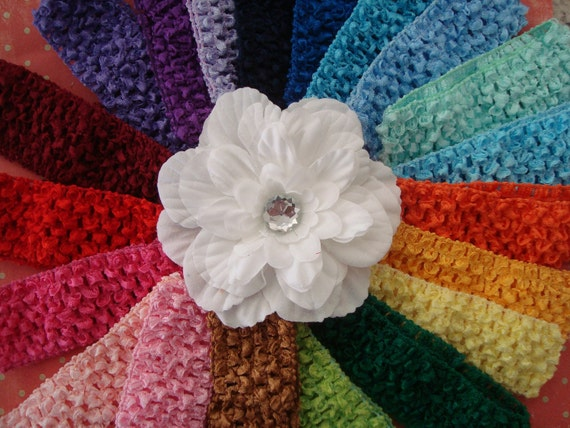 FREE SHIPPING - Crochet headbands for baby/girl -  Includes 20 headbands and 1 handmade flower clip.  Match any outfit.