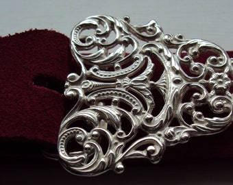 Handcrafted Rococo Style Solid Sterling Silver Snap on Belt Buckle