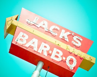 Route 66 Neon Sign Vintage Retro Roadside Oklahoma City - Fine Art Photograph - Jack's Bar-B-Q