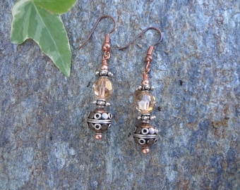 Swarovski crystal and copper earrings with silver spacers