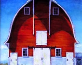 The Red Barn Painting, Red Barn Wall Art, A Classic Barn Print, RED BARN PRINT, 8 x 8 Art Print of Original Oil Painting by Jemmas Gems