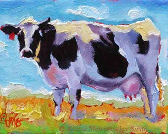 Western Art Cow Painting & Blue Sky Art Print, Cow Art, Cow Print, Cow Wall Decor, 8 x 10 from Jemma's-Gems Original Cow Painting