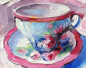 Antique Rose Tea Cup - Tea Cup Oil Painting as 8 x 8 Print by Jemmas Gems