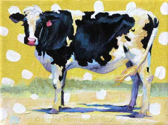 Cow Painting, Cow Print, Cow & Buttercup Yellow, Cow Art Print, Happy Cow Wall Decor 8 x 10 by Jemmas Gems