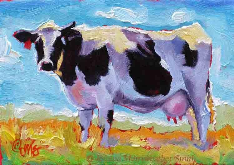 Western art cow painting blue sky art print cow art cow for Cow painting print