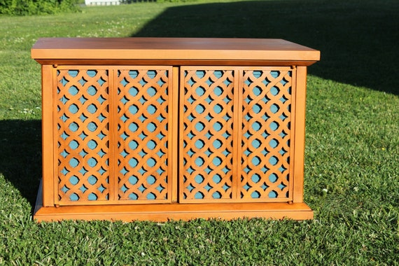 RESERVED - Spanish Moroccan Influence Orange and Blue Coffee Table End Table Storage Cabinet Global Look World Traveler