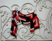 Red and Black 1970's Geo Print Scarf