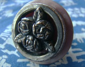 Vintage Silver Rose Button Ring