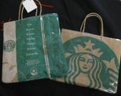 "9""x9"" up cycled starbucks shopping bag. i invented this one."