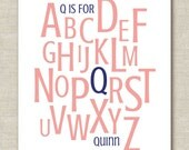 "Custom Personalized Nursery Baby Child Name Alphabet Decor Art Print 8.5""x11"""
