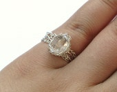 Herkimer Diamond Quartz Ring - Sterling Silver Wire Crocheted - Any Size - MADE TO ORDER