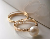 Freshwater Pearl Rings Matching Set 14K Gold Filled Wire Wrapped - MADE TO ORDER