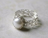 Silver Pearl Ring - Wire Crocheted Sterling Silver & Freshwater Pearl - Any Size - MADE TO ORDER