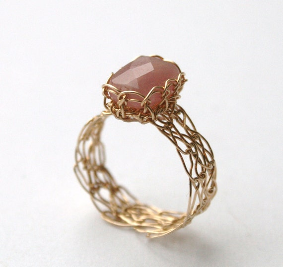 Pink Jade Ring - Wire Crocheted 14K Gold Fill - MADE TO ORDER